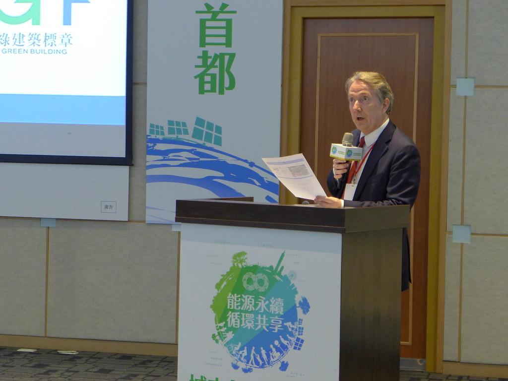 荷蘭貿易暨投資辦事處代表紀維德出席分享荷蘭發展循環經濟的經驗。孫文臨攝