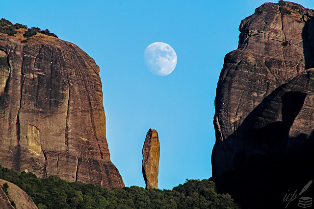 Moon Rising Above Meteora, Greece