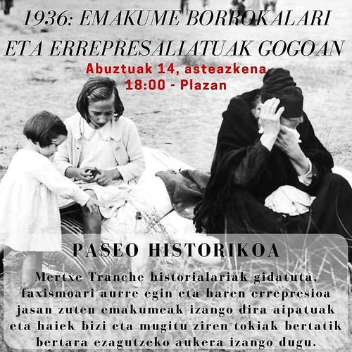 Frankismoan errepresaliaturiko emakumea, Moskuko jaietako paseo historikoaren hizpide