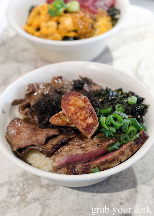 Wagyu steak, wagyu tongue, foie gras and fresh truffle ultimate don rice bowl at Dopa by Devon in Darling Square Sydney