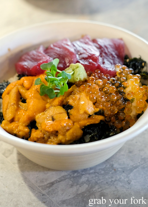 Hokkaido uni don rice bowl at Dopa by Devon in Darling Square Sydney