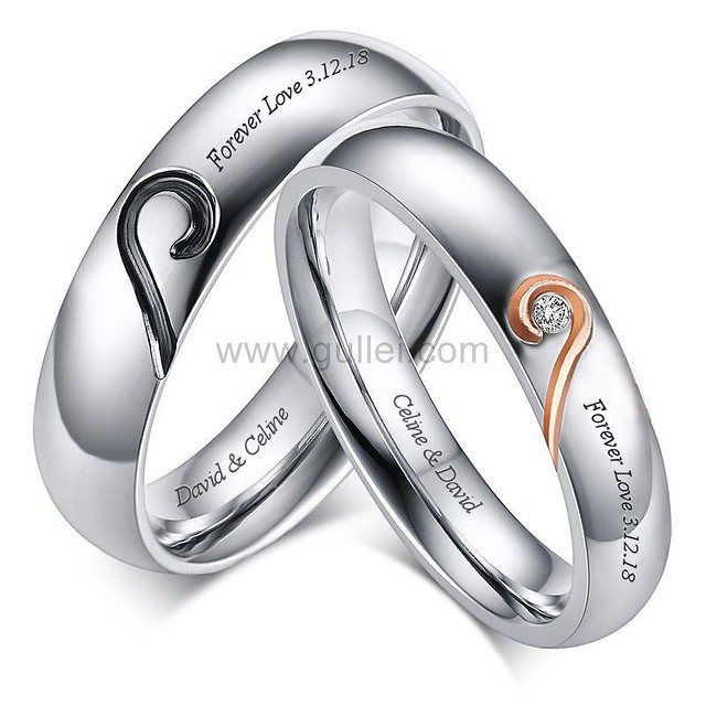 Personalized Matching Hearts Titanium Wedding Rings Set Gullei.com