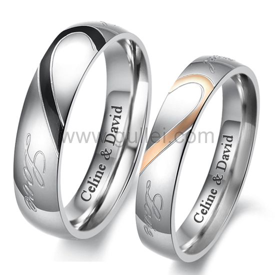 Custom Engraved Matching Half Heart Promise Couples Rings Gullei.com