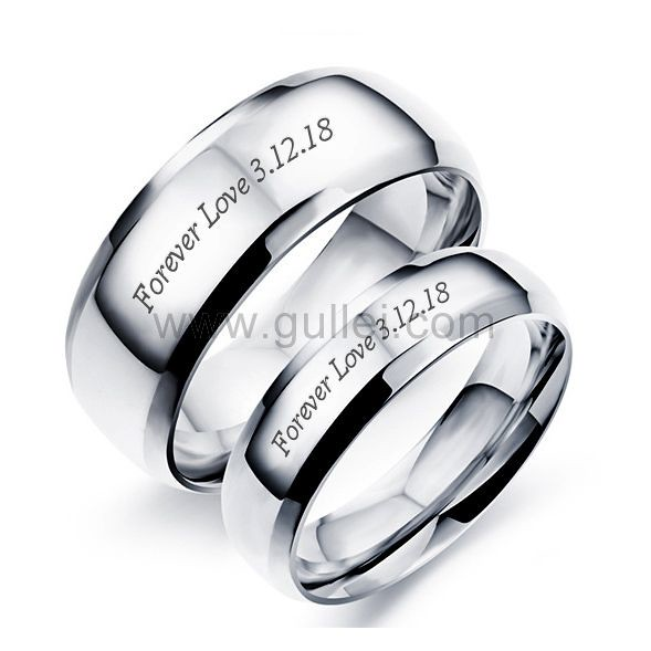 Personalized Names Titanium Couple Wedding Bands Gullei.com