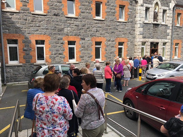 Visitors waiting to greet Poor Clares