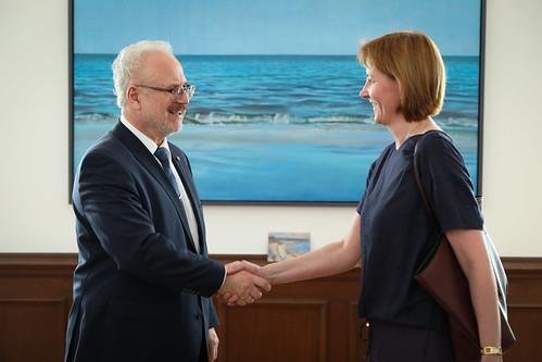 Valsts prezidenta Egila Levita tikšanās ar Eiropas Komisijas ģenerālsekretāri Ilzi Juhansoni