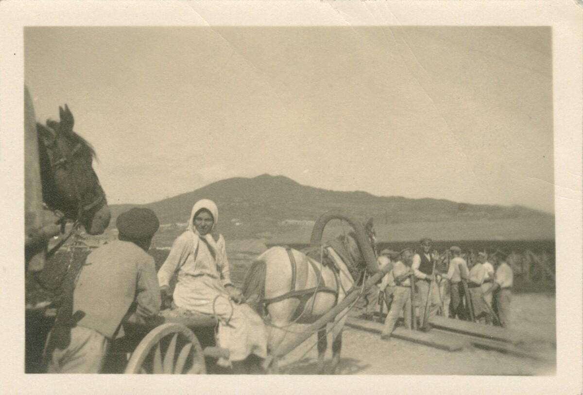 Группа с лошадьми и повозками.