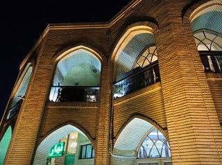 Middle East Silk Road palace lit up at night