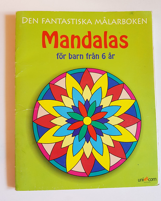 Activity book cover: Mandala for kids coloring book / målarbok - video thrift shop haul by iHanna #junkjournaling