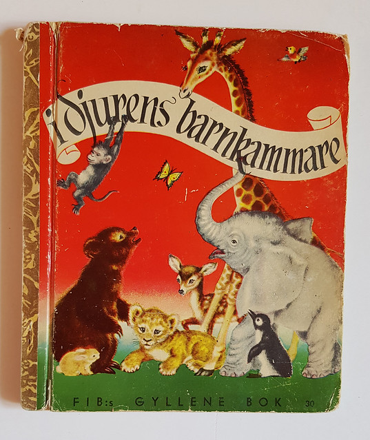 Gyllene book Djurens barnkammare (Golden book cover) - video thrift shop haul by iHanna #junkjournaling