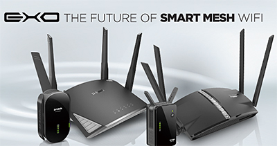 Four new smart mesh routers and extenders in the new EXO series from D-Link for a smart mesh Wi-Fi.