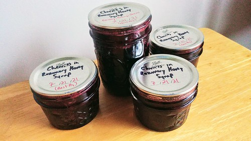 Cherry Preserves in Rosemary Honey Syrup