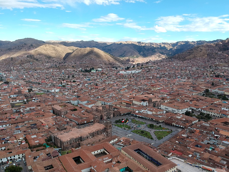 drone over Cusco