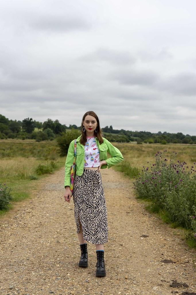 Green jacket, Leopard Skirt and Platform Boots 4