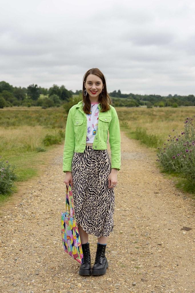 Green jacket, Leopard Skirt and Platform Boots