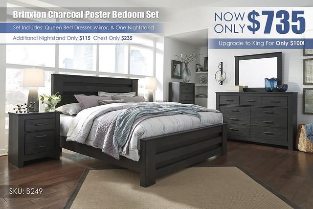Brinxton Charcoal Queen Poster Bedroom_B249