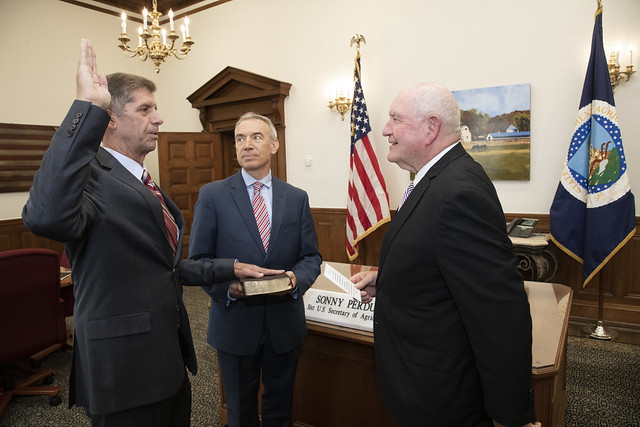 U.S. Department of Agriculture Secretary Sonny Perdue swears in Scott Soles as the Deputy Chief Financial Officer