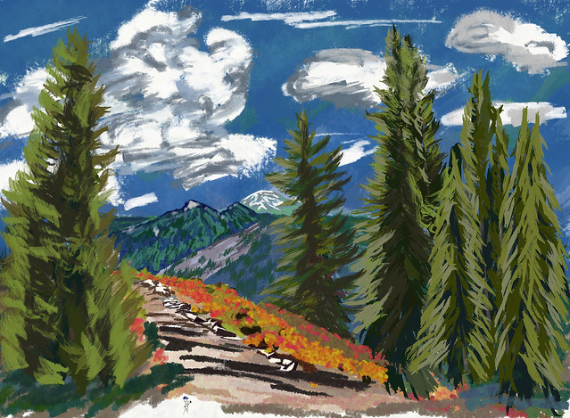 My Travel Paintings - Mount Rainier Skyline Trail