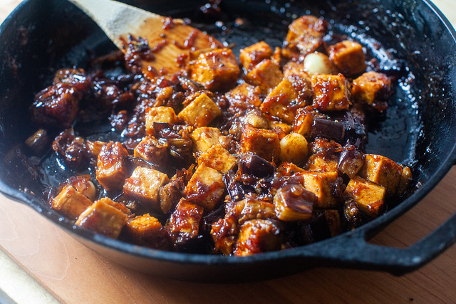 black pepper tofu and eggplant