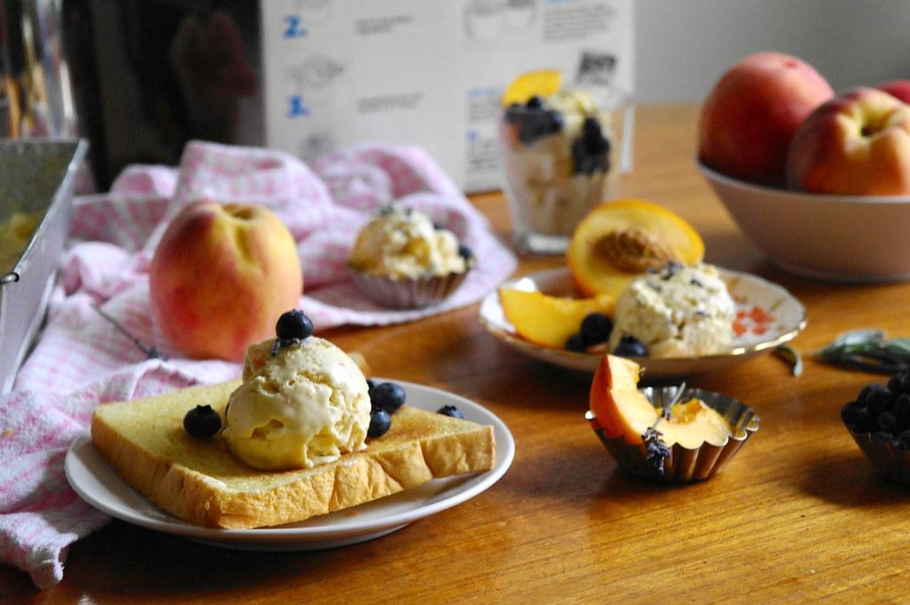 roasted peach lavender chamomile ice cream