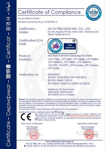 噴膠機 CE證書