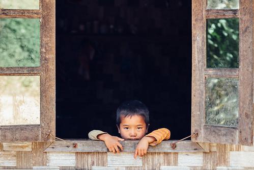 Boy Peeking Out Window, Mindat Myanmar