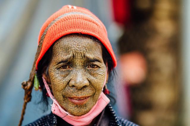 Uppriu Woman's Tattoed Face, Mindat Chin State Myanmar