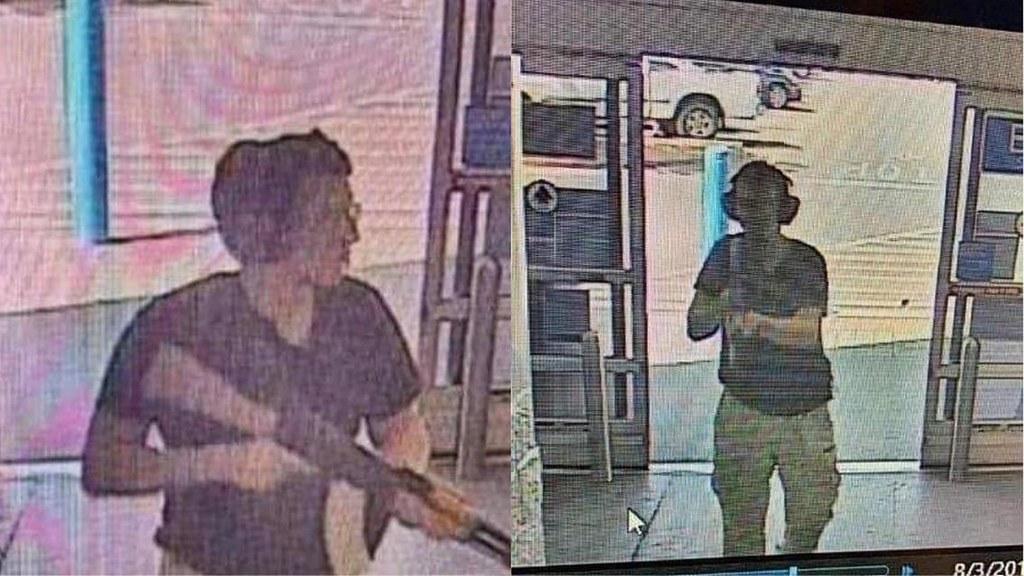 監視器拍下槍手克魯西斯手持步槍進入德州艾爾帕索的沃瑪爾商場。(圖片來源:法新社)