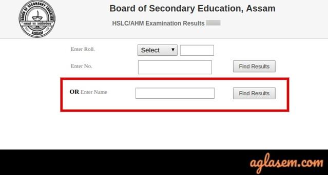 Assam HSLC namewise Result 2020