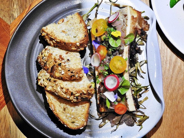 Beef Bone Marrow, Pickled Shallots, Capers, Herbs, Toast