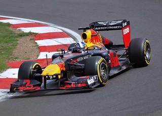 Sebastian Vettels 2011 Championship Winning Aston Martin Red Bull RB7 driven by David Coulthard at Brands Hatch