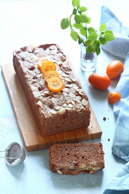 Chocolate Loaf Cake with Candied Kumquats