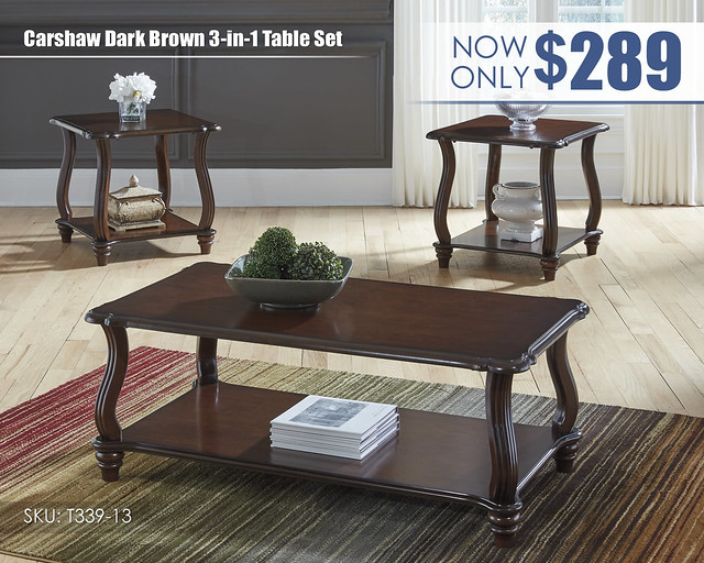Carshaw Dark Brown Table Set_T339-13