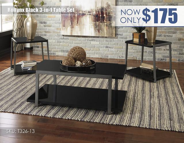 Rollynx Black Table Set_T326-13