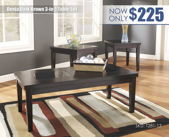 Denja Dark Brown Table Set_T281-13-SD