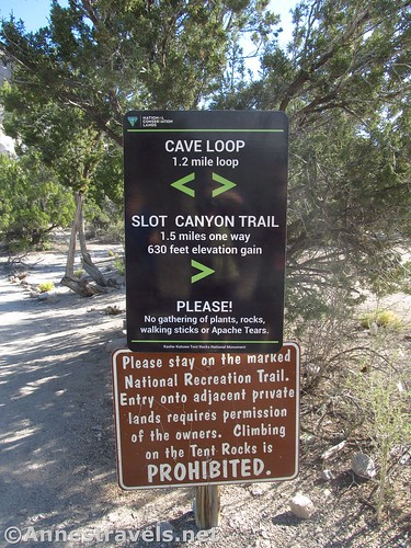 Sign marking the Cave Loop vs. the Slot Canyon Trail at Kasha-Katuwe Tent Rocks National Monument, New Mexico
