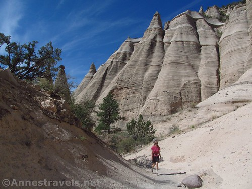 Walking up the canyon above the slot in Kasha-Katuwe National Monument, New Mexico