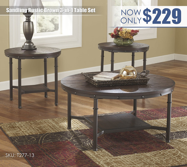 Sandling Rustic Brown Table Set_T277-13