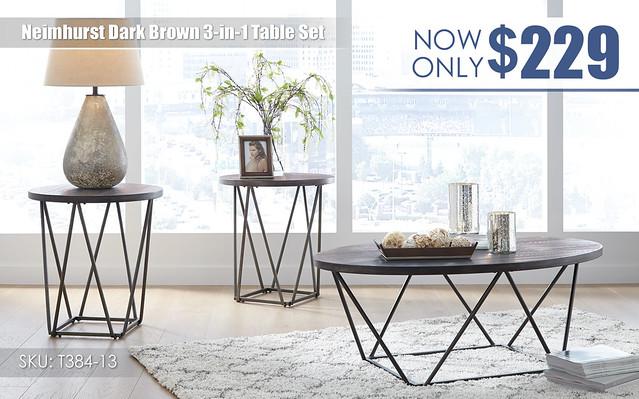 Neimhurst Dark Brown Table Set_T384-13