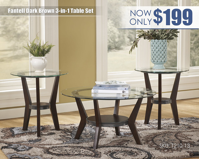 Fantell Dark Brown Table Set_T210-13-SD