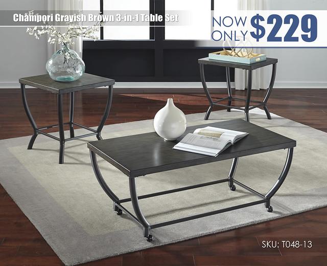 Champori Grayish Brown Table Set_T048-13
