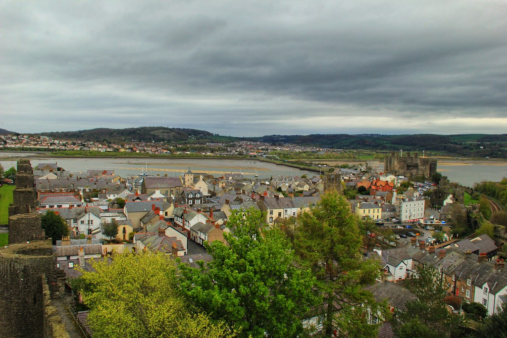 View of Conwy and its castle from the old fortifications which surround the town