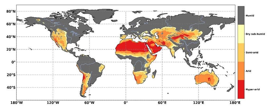 乾旱地區的地理分布,以乾旱指數(AI)為基礎。 AI的分類為:潮濕(灰色陰影)AI> 0.65、乾次濕(黃色)0.50 <AI≤0.65、半乾旱(淺橙色)0.20 <AI≤0.50,乾旱(深橙色)0.05 <AI≤ 0.20、超乾旱(紅色)AI <0.05。資料來源:IPCC土地報告,圖3.1。