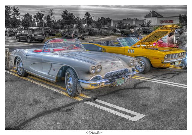 Antique Corvette and Cuda