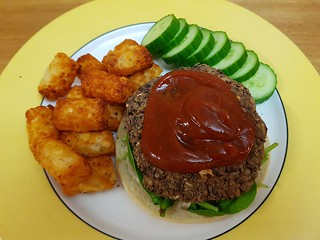 Open Faced Black Bean Burger with Spiced Ketchup