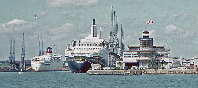 QE2 at Southampton's Ocean Terminal. 1970's