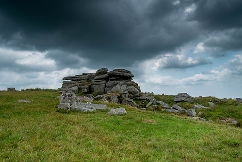 Dartmoor, weathered rocks before storm