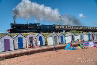 Beach huts and locomotive