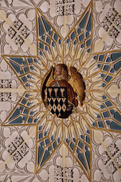Winchester, Hampshire, cathedral, Wayneflete chantry, vault, detail