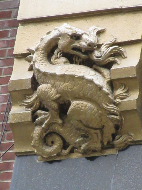 Radiator Building Art Deco Gold Dragon No Wings Gargoyle 7882